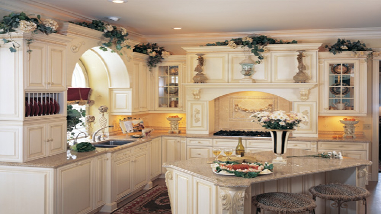 french country kitchen with white cabinets photo - 10