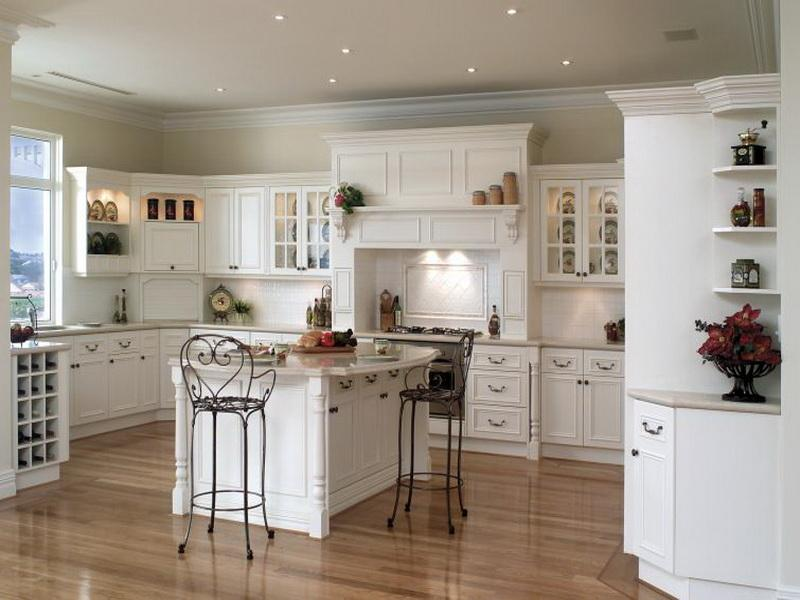 french country kitchen with white cabinets photo - 4