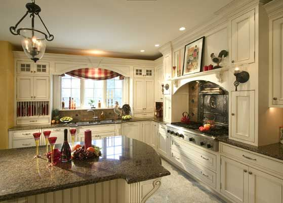 french country kitchen with white cabinets photo - 5
