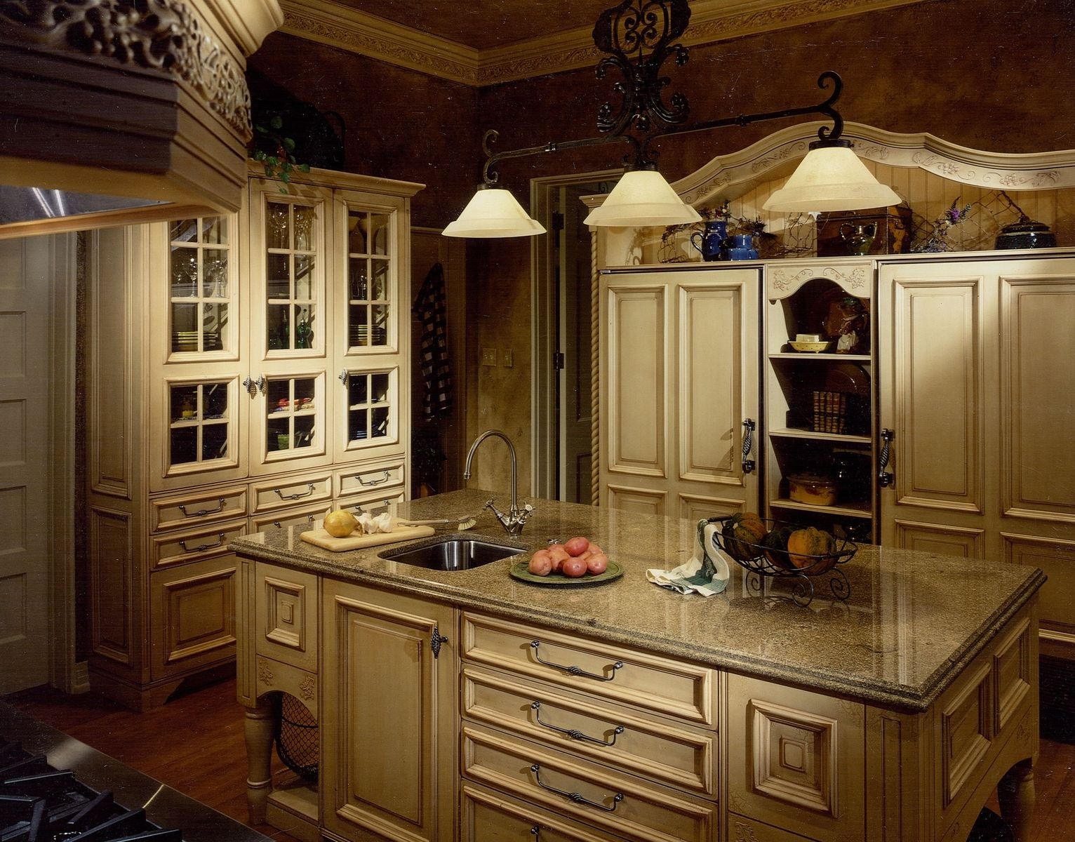french country kitchen with white cabinets photo - 6