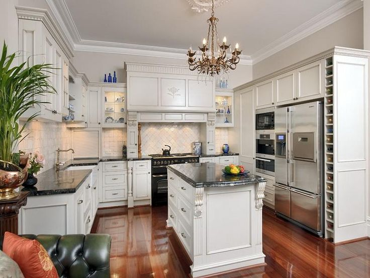 french country kitchen with white cabinets photo - 7