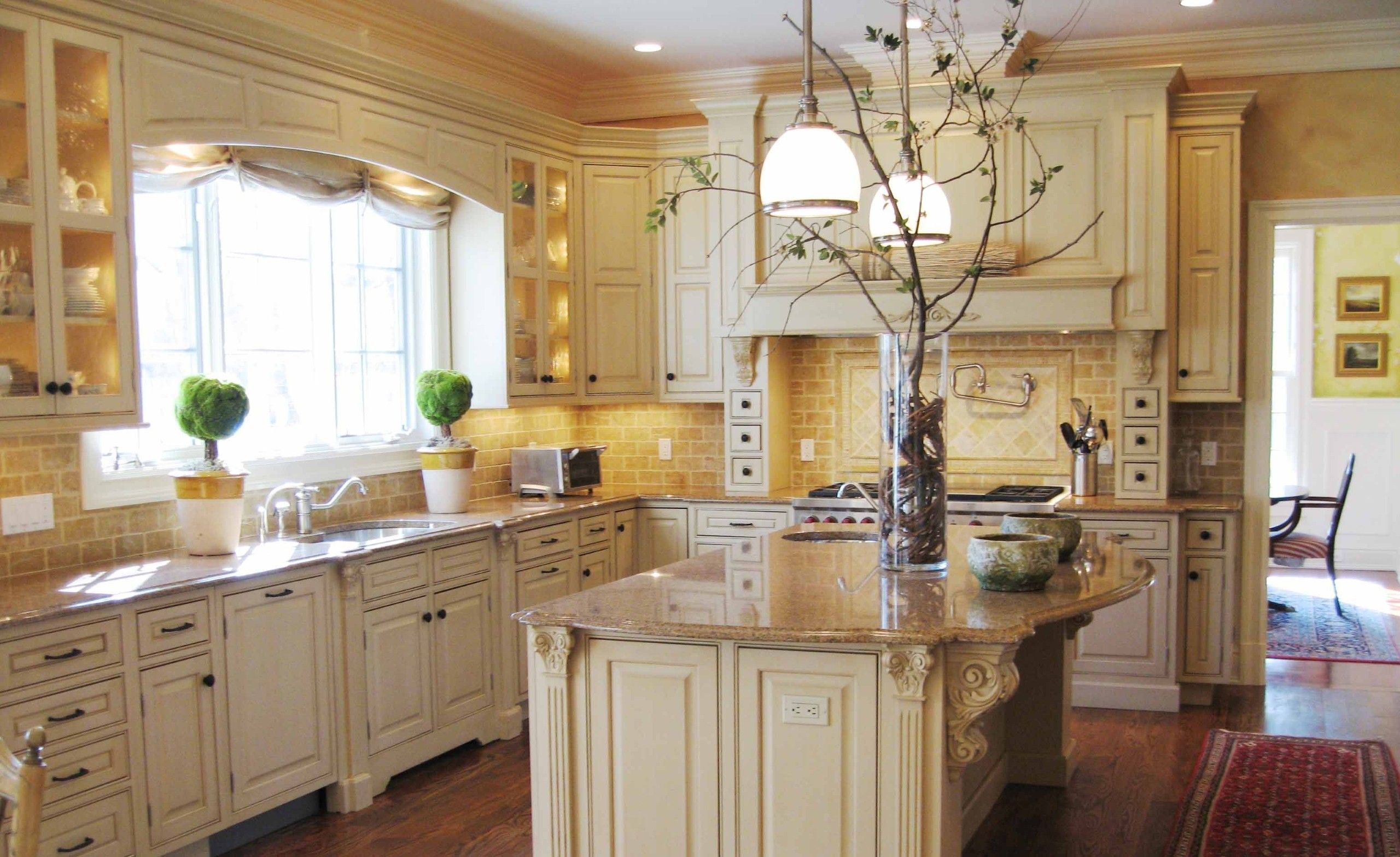 french country kitchen with white cabinets photo - 8