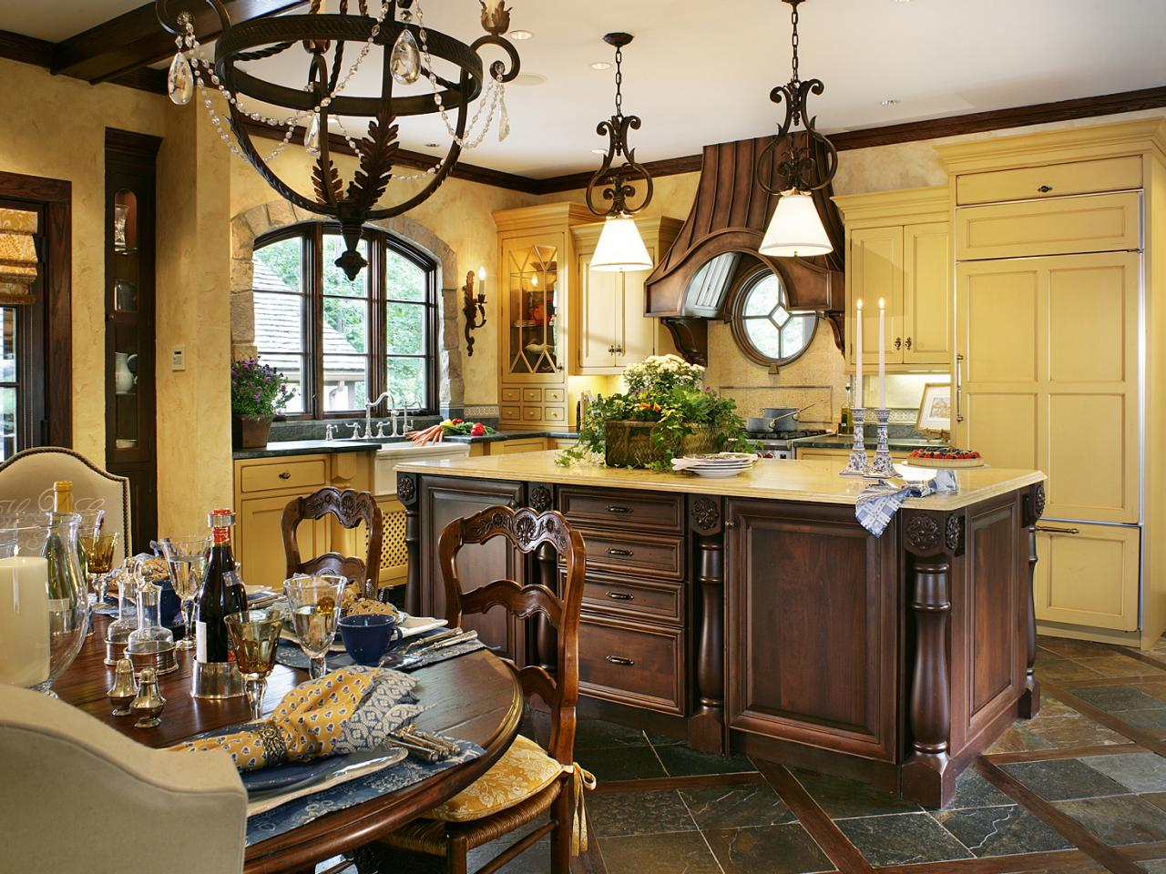 french country kitchen yellow photo - 1