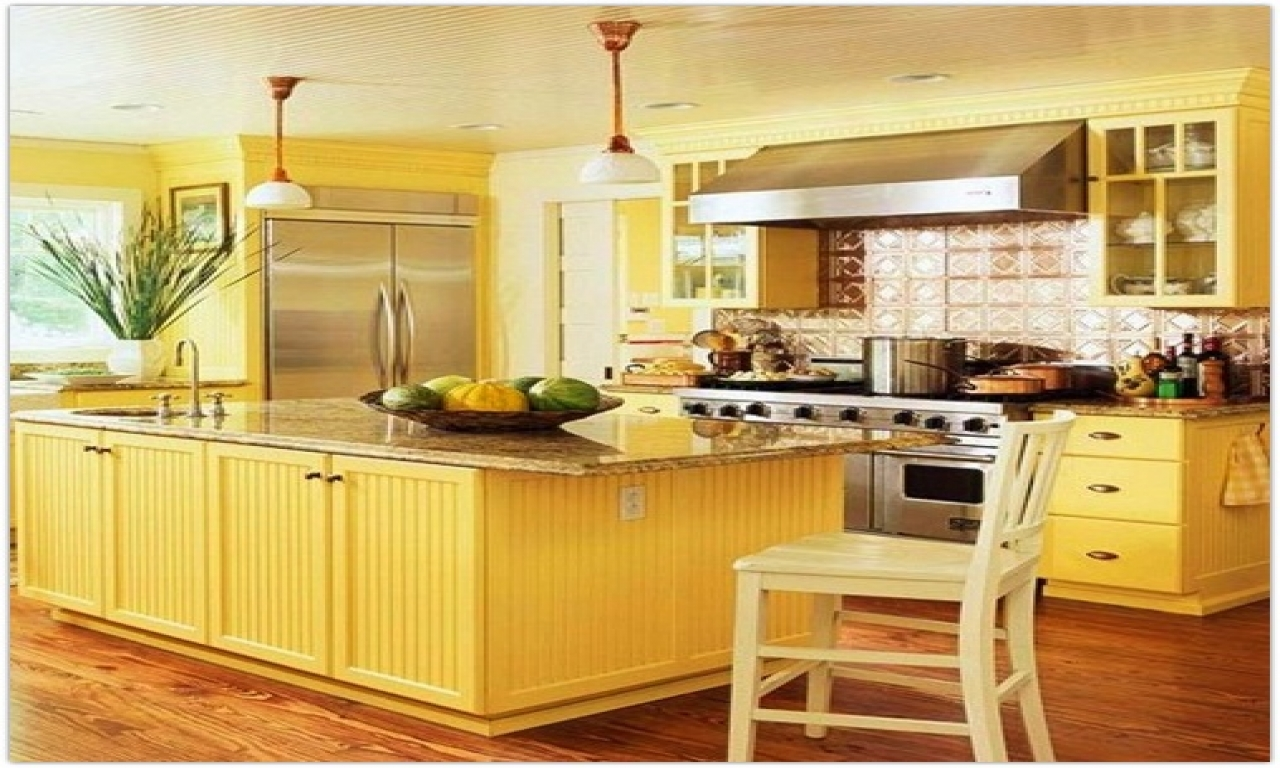 french country kitchen yellow photo - 10