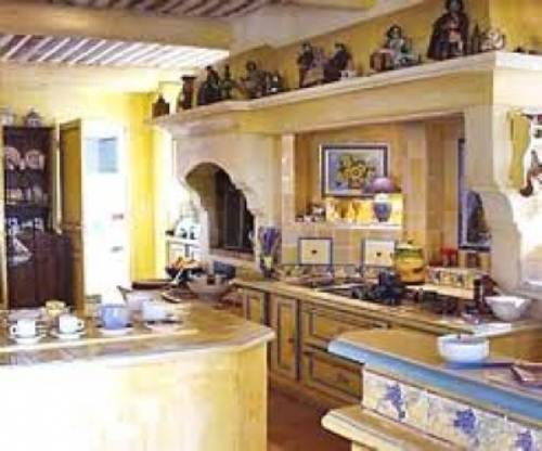 french country kitchen yellow blue photo - 1
