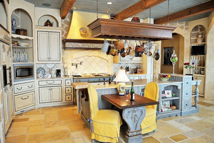 french country kitchen yellow blue photo - 10