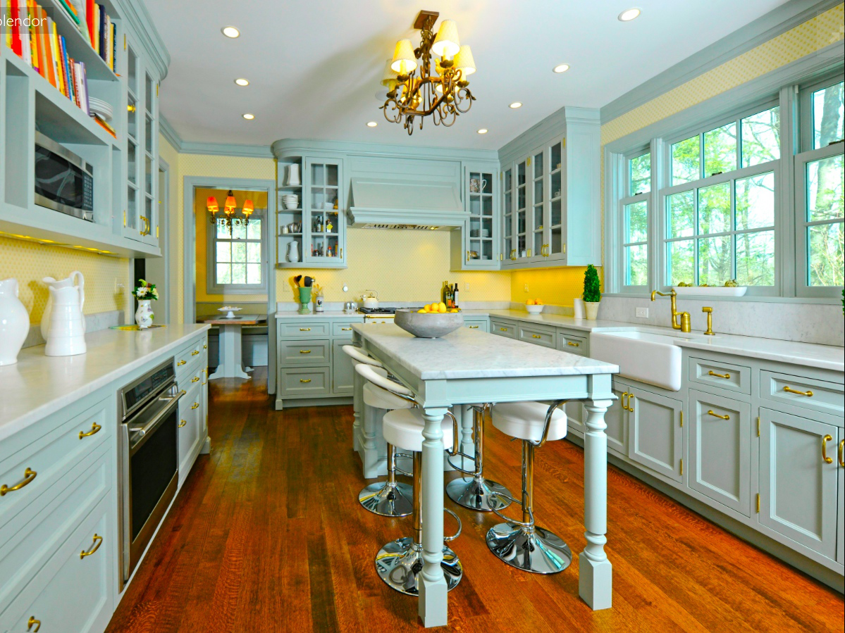 French Country Kitchen Yellow Blue Hawk Haven