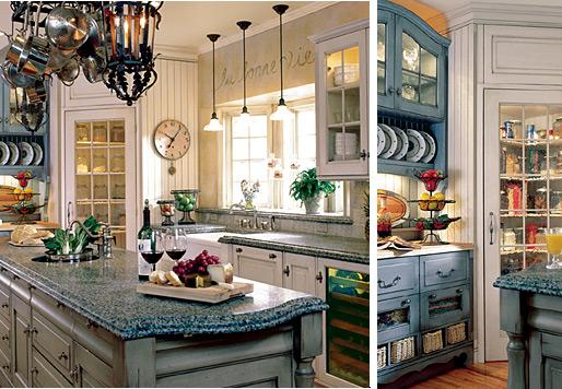 french country kitchen yellow blue photo - 3