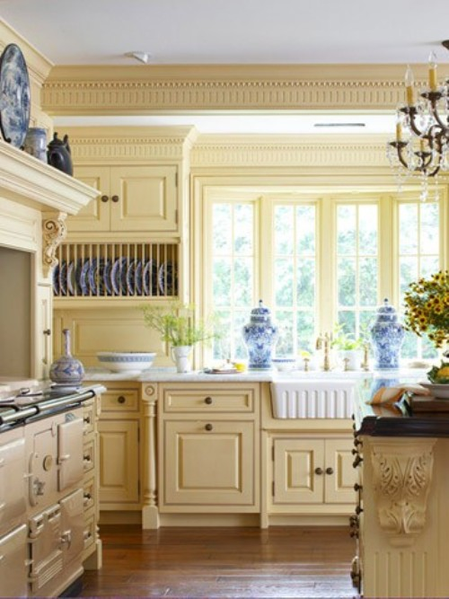french country kitchen yellow blue photo - 4