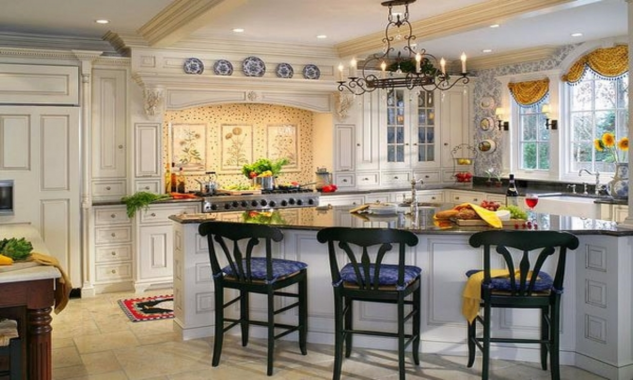 french country kitchen yellow blue photo - 6