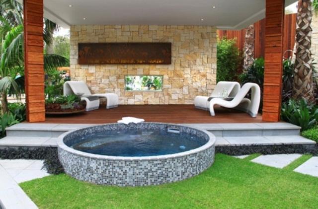 garden design ideas hot tubs photo - 7