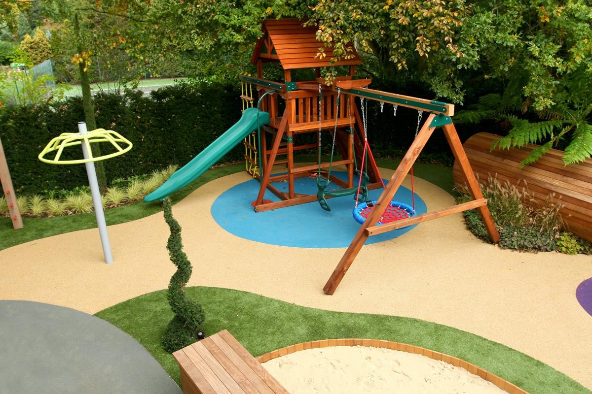 garden design ideas with childrenメs play area photo - 2
