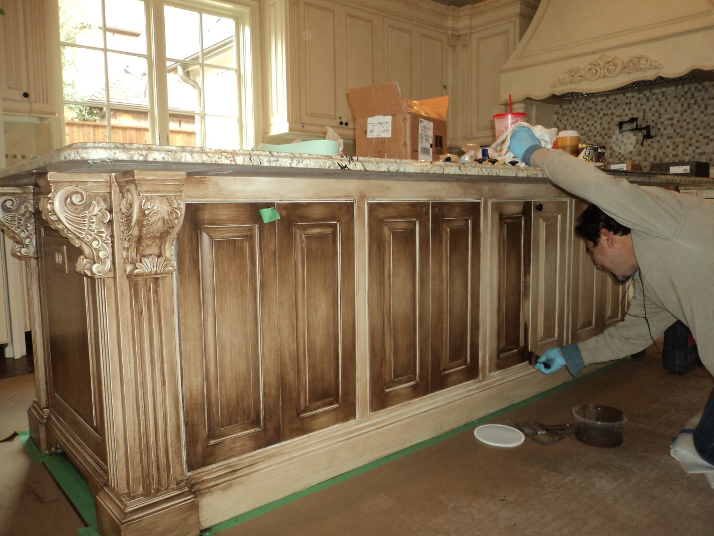 glazing kitchen cabinets gel stain photo - 8