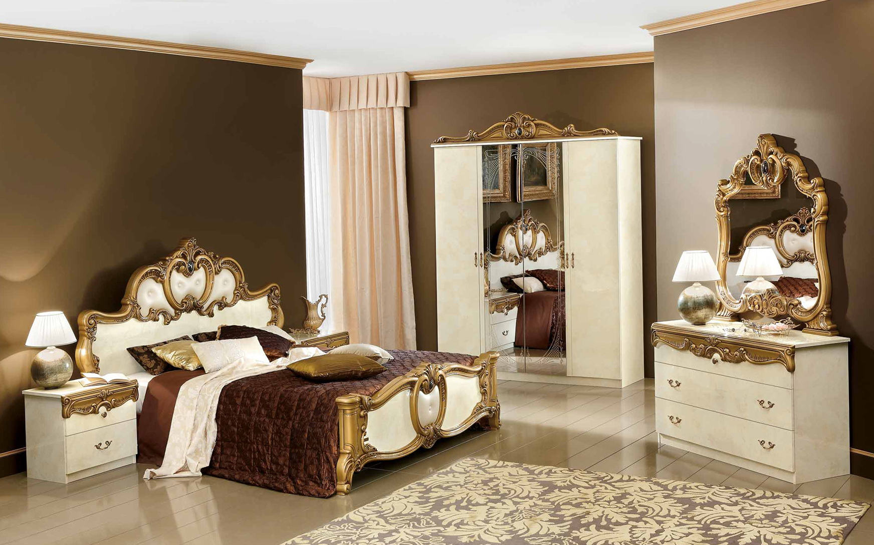gold mirrored bedroom furniture photo - 2