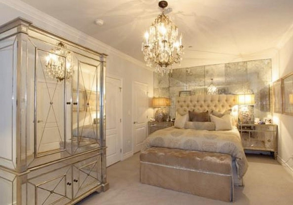 gold mirrored bedroom furniture photo - 3