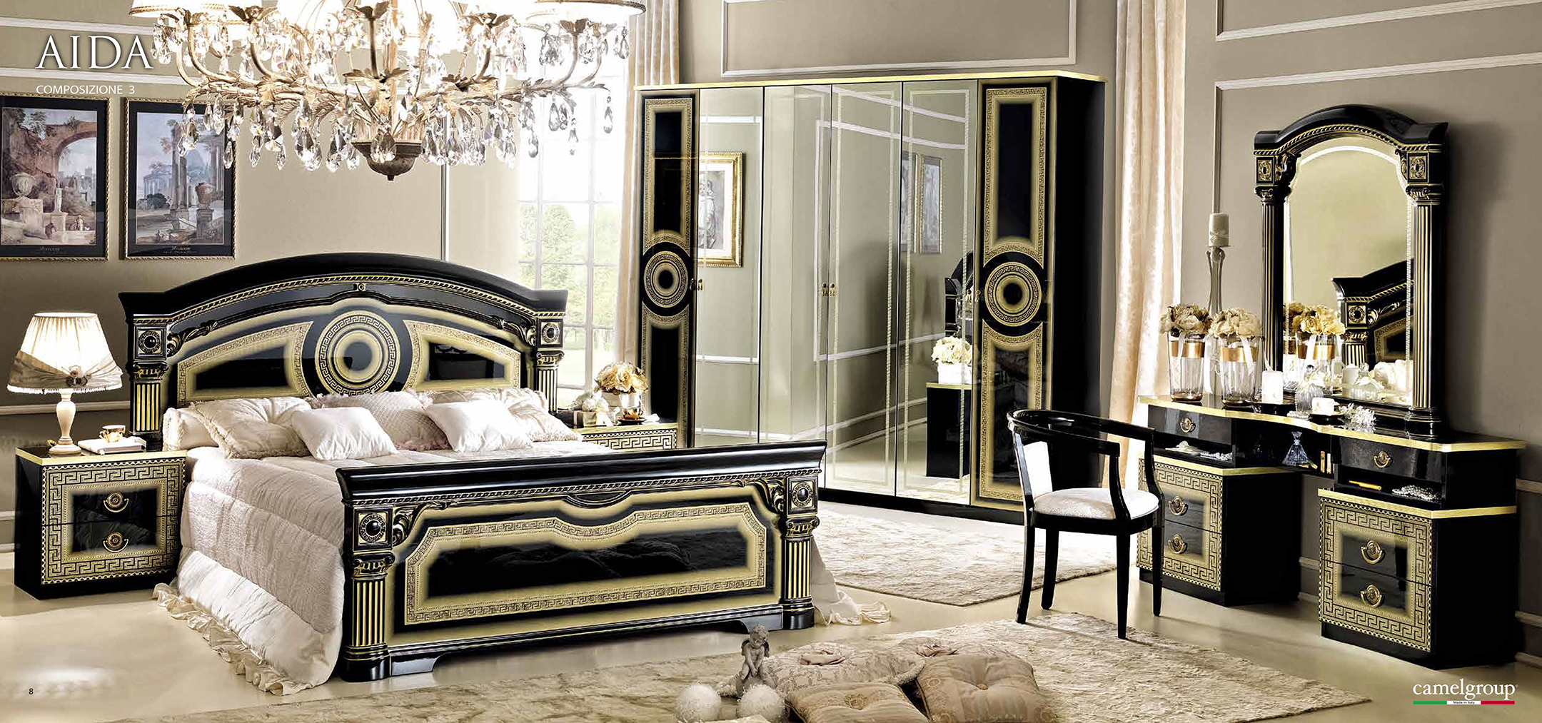gold mirrored bedroom furniture photo - 8