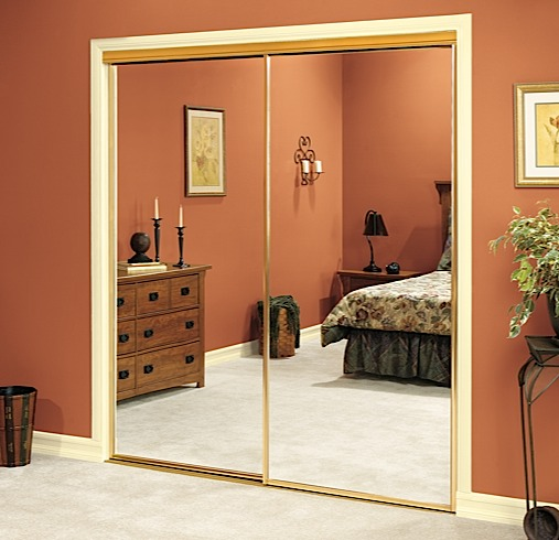 gold mirrored closet doors photo - 5