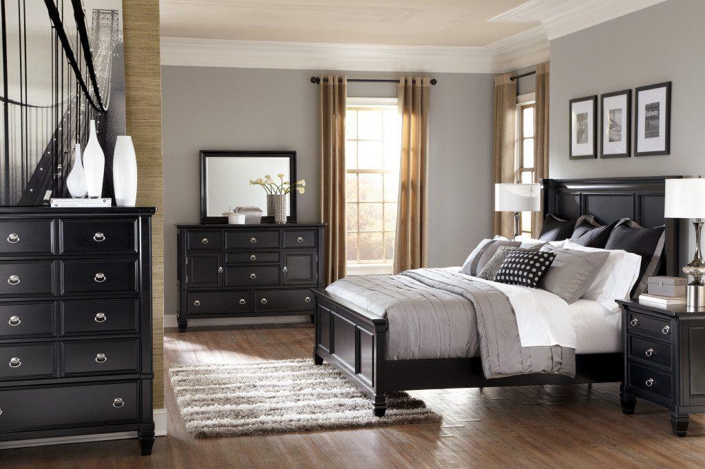 gray bedroom black furniture photo - 1