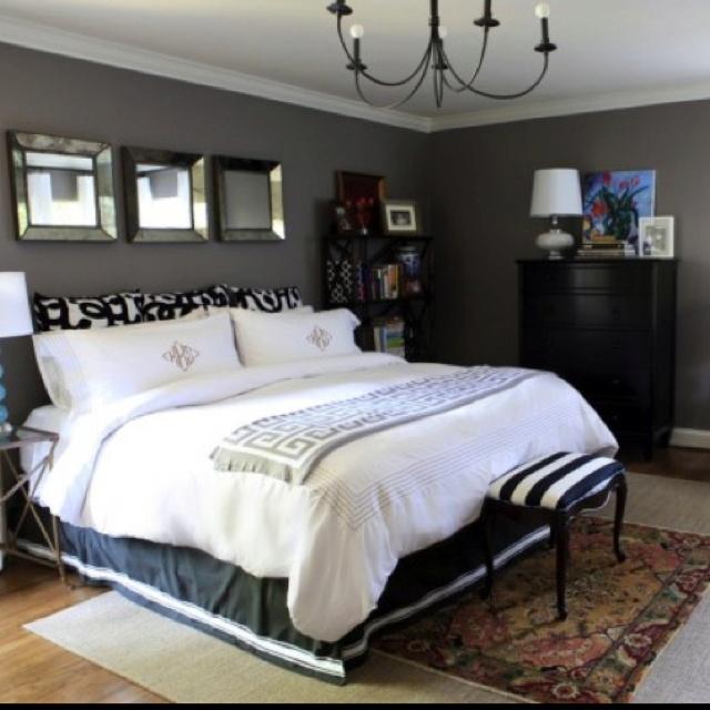 gray bedroom black furniture photo - 10