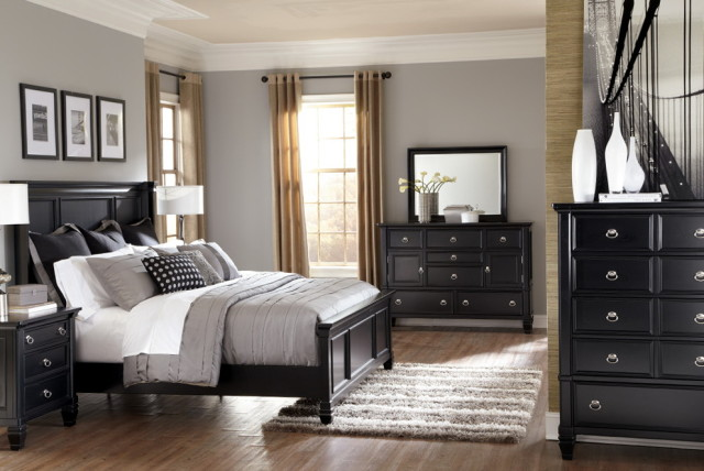 gray bedroom black furniture photo - 3