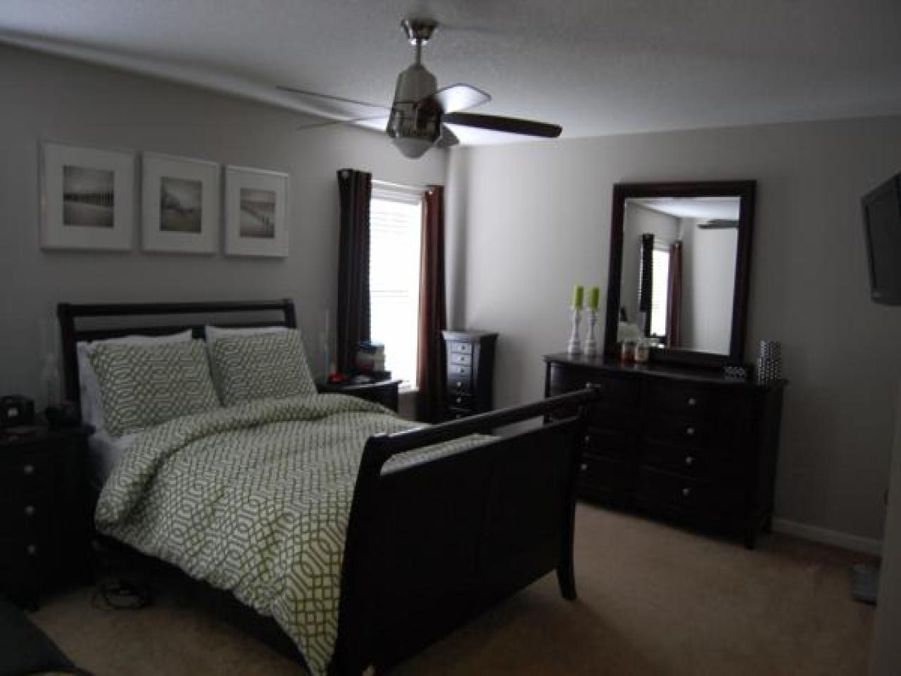 gray bedroom black furniture photo - 6