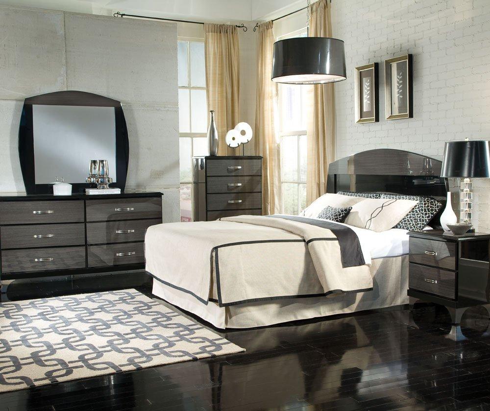gray bedroom black furniture photo - 9