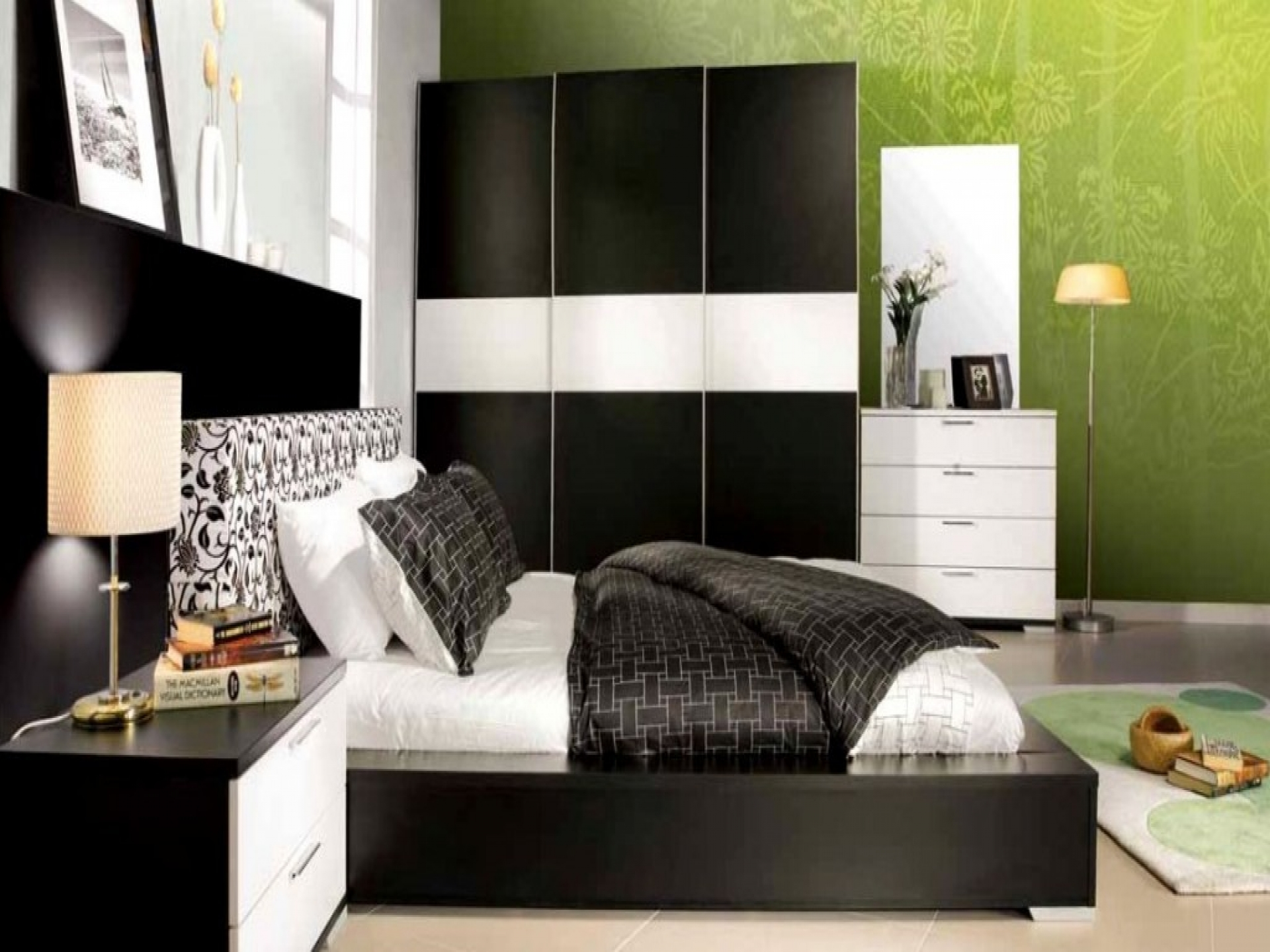 green and black bedroom design photo - 10