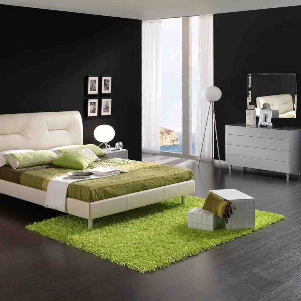 green and black bedroom design photo - 3