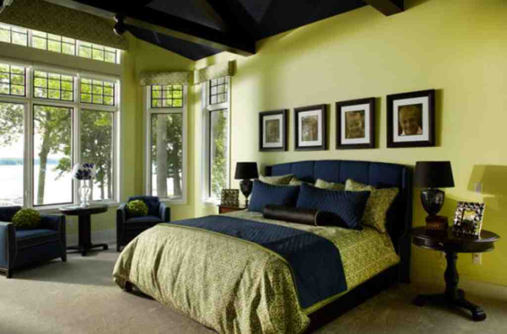 green and black bedroom design photo - 4