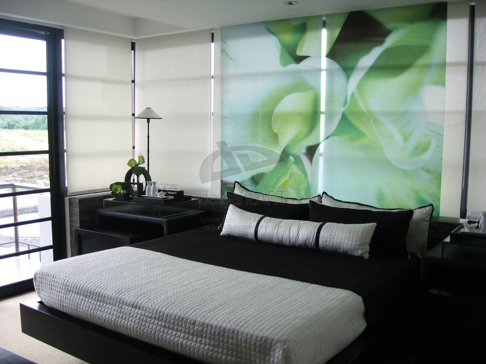 green and black bedroom design photo - 5