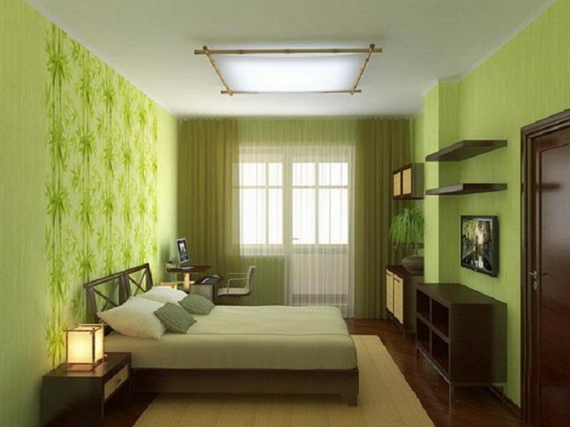 green and black bedroom design photo - 6