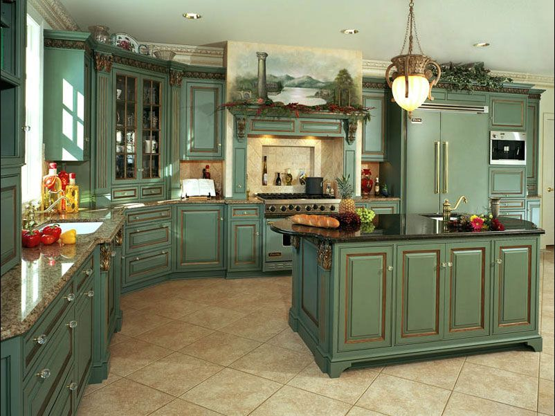 green country kitchen designs photo - 5