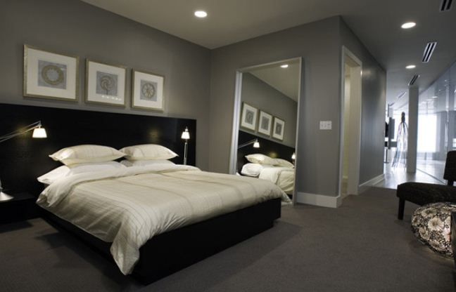 grey and black bedroom design photo - 8