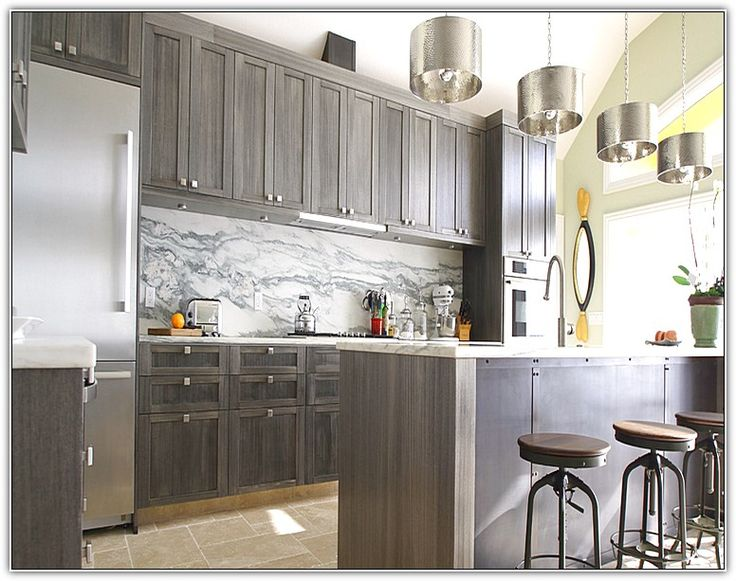 grey stained cabinets kitchen photo - 10