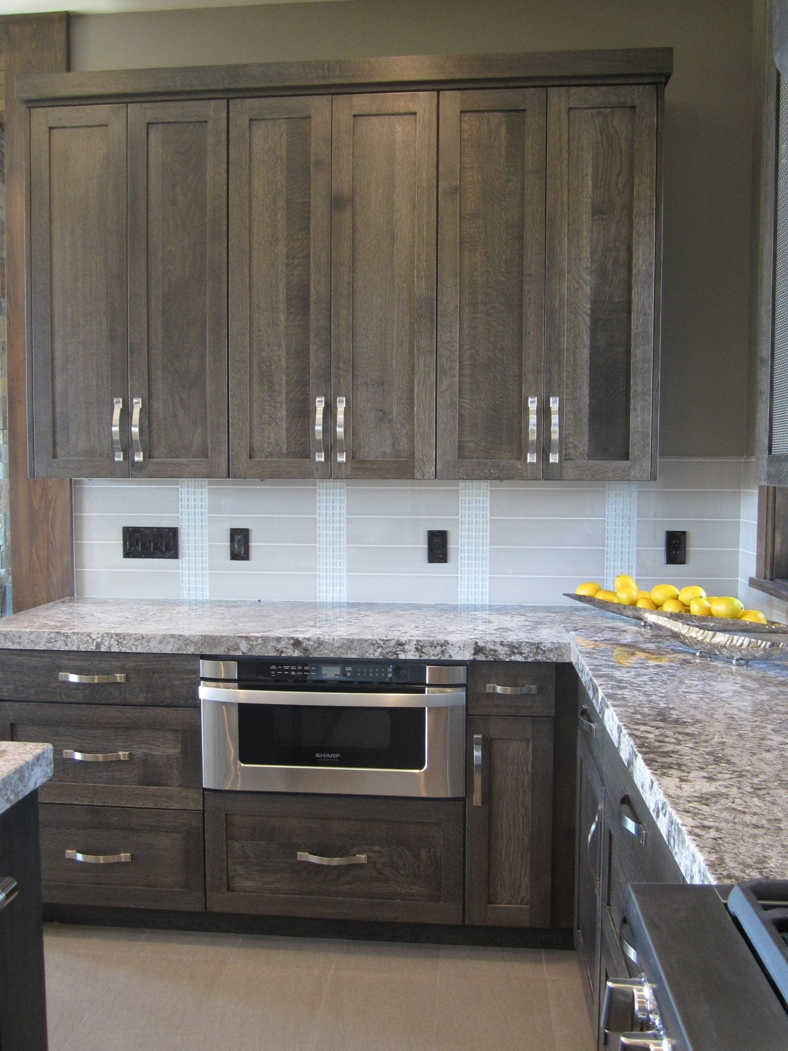 grey stained cabinets kitchen photo - 2