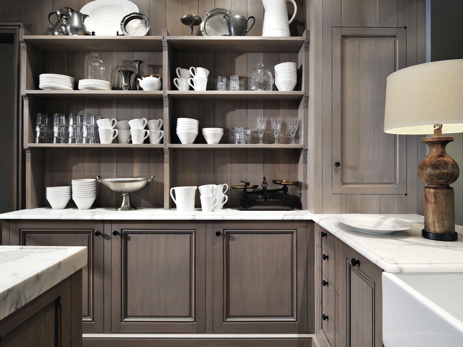 grey stained cabinets kitchen photo - 3