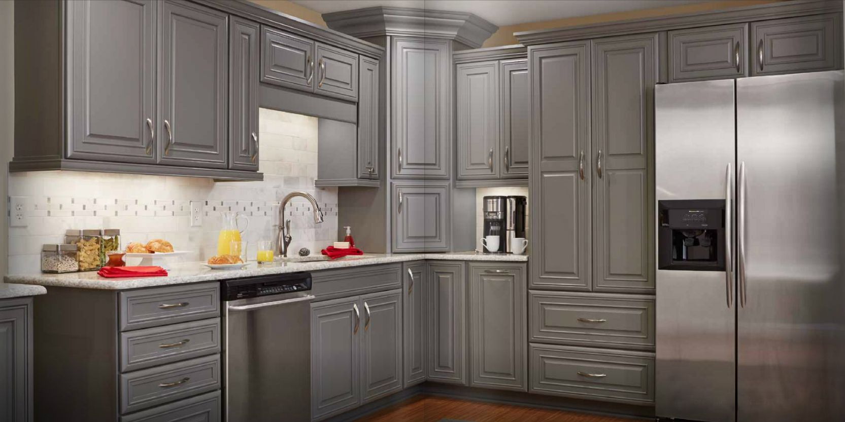 grey stained cabinets kitchen photo - 5