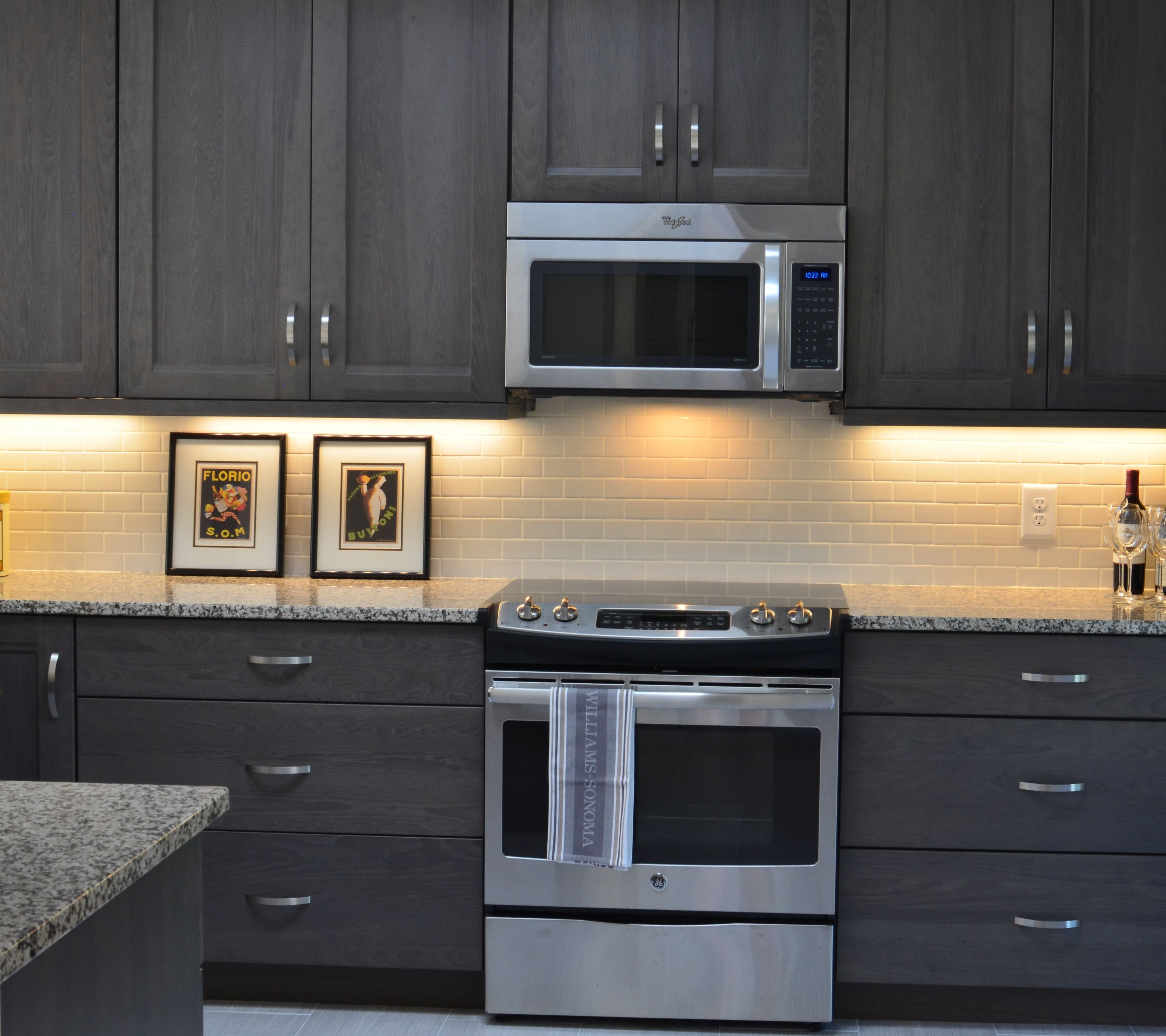 grey stained cabinets kitchen photo - 6