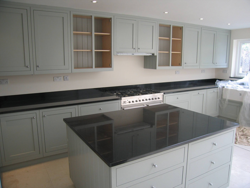 grey stained cabinets kitchen photo - 7