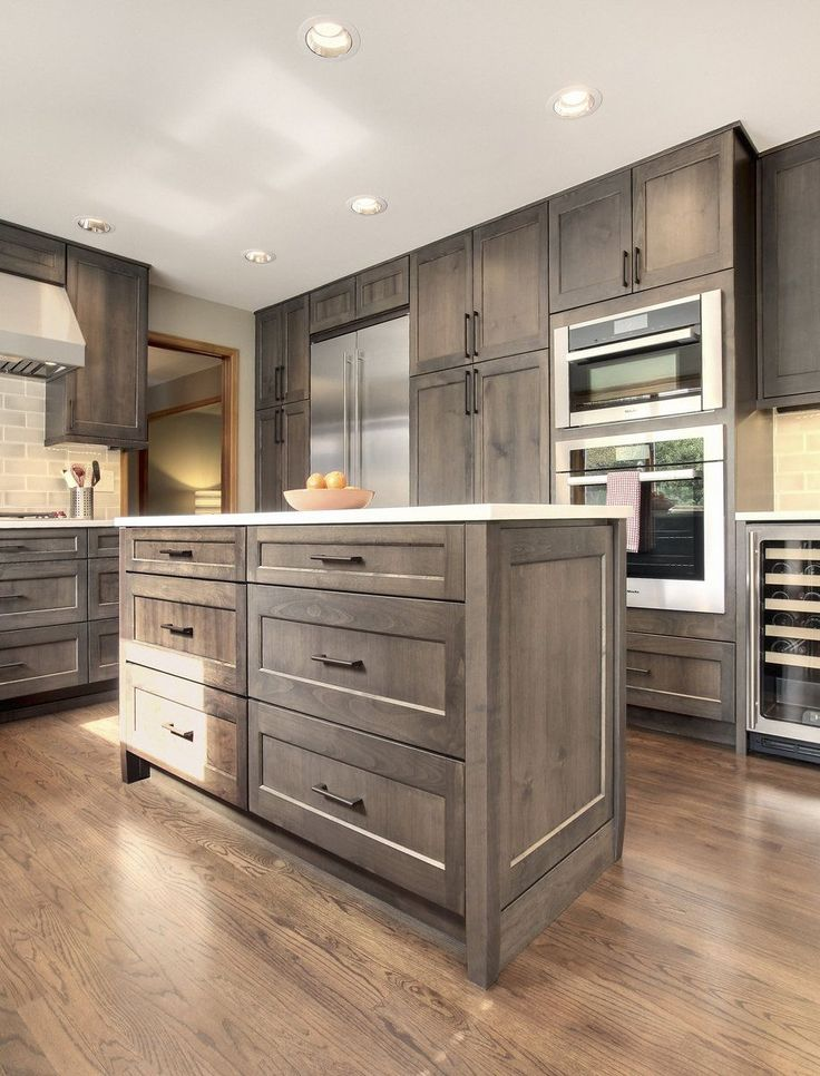grey stained cabinets kitchen photo - 8