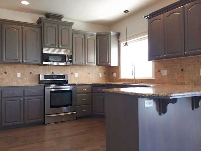 grey stained cabinets kitchen photo - 9