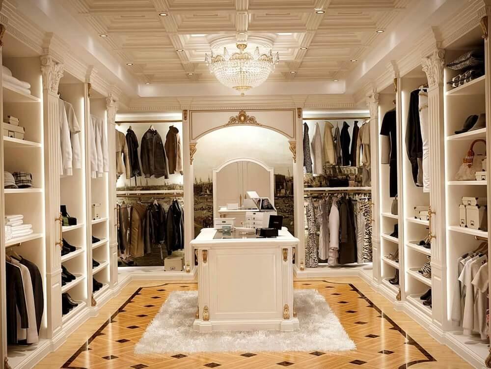 High end walk in closet design hawk haven - Walk in closet design ideas ...