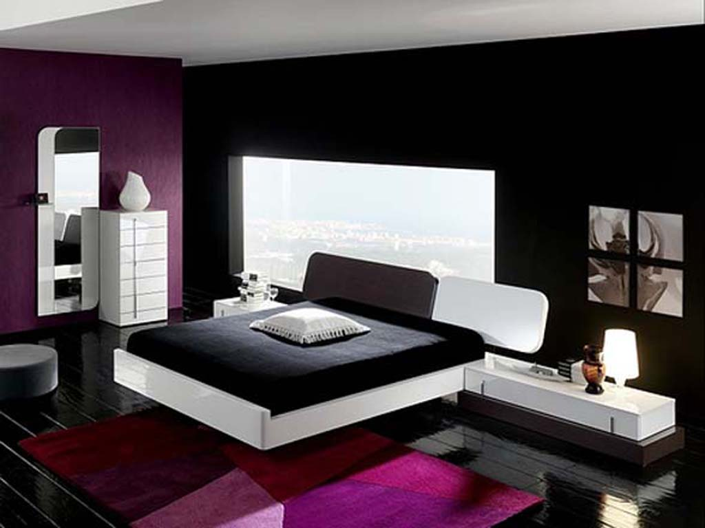 interior design bedroom black furniture photo - 2