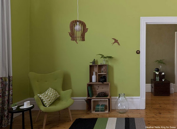 interior wall paint green photo - 5