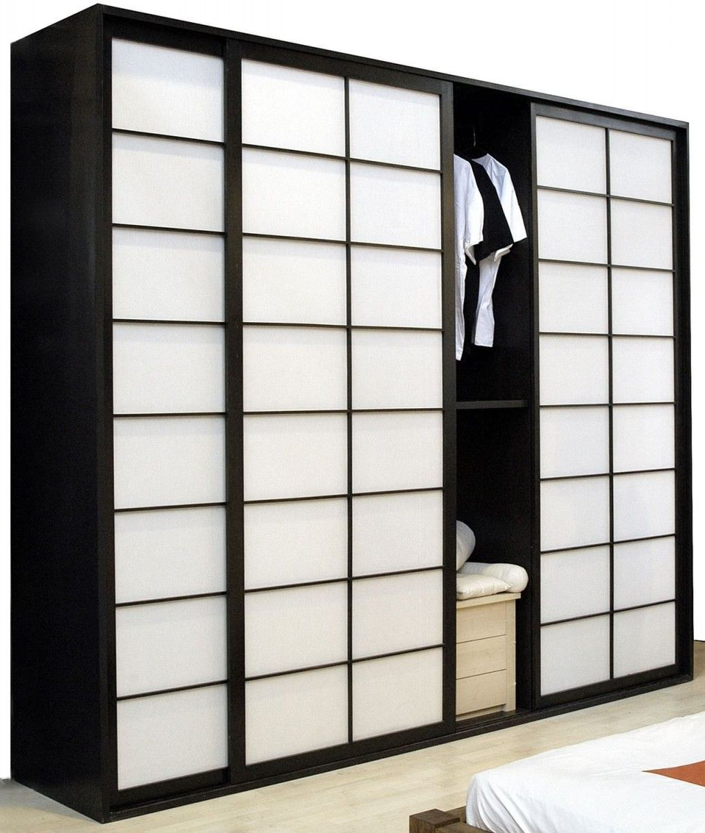 A Japanese Inspired Apartment With Plenty Storage Systems: Japanese Shoji Screens For Sliding Glass Doors