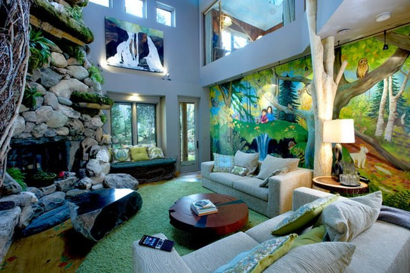 jungle living room designs photo - 3