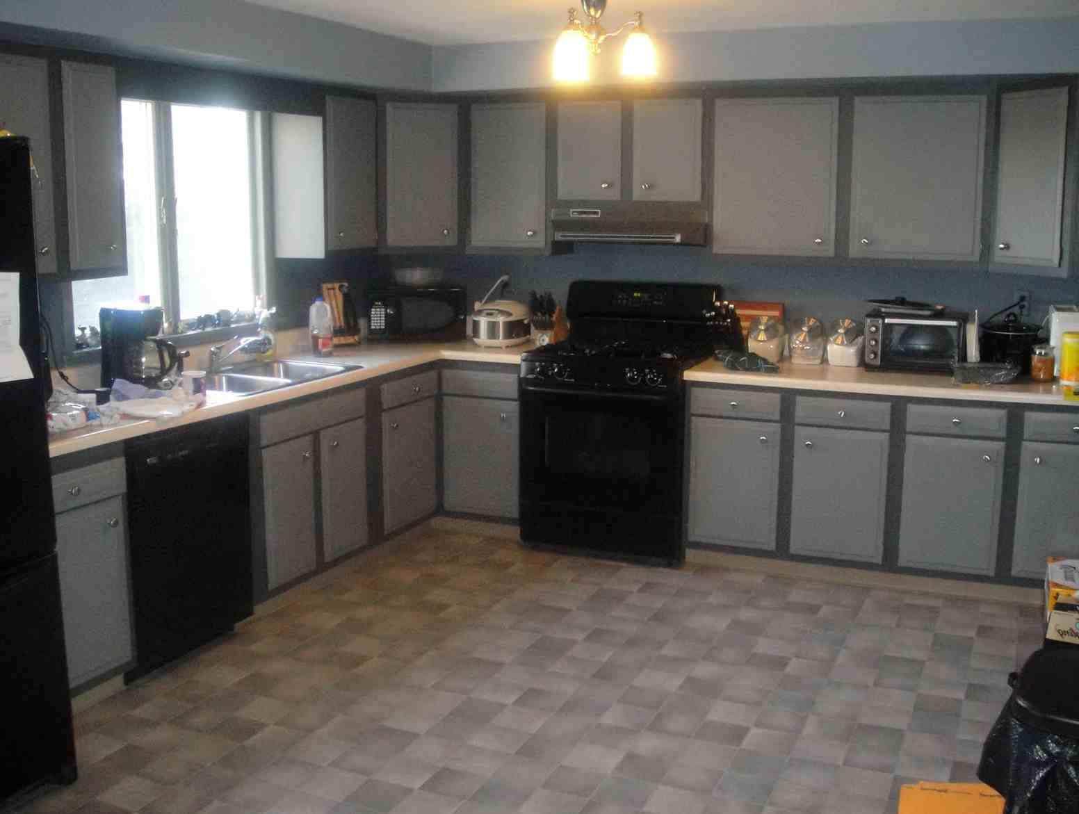 kitchen cabinet color ideas with black appliances photo - 9