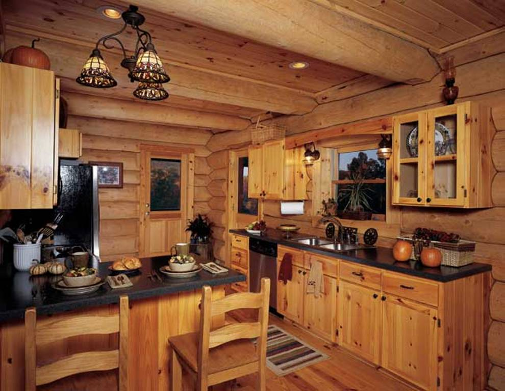 kitchen cabinet ideas for log homes photo - 2