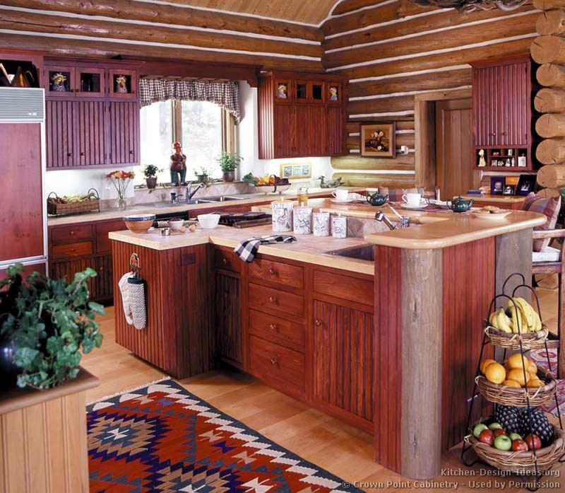 kitchen cabinet ideas for log homes photo - 5