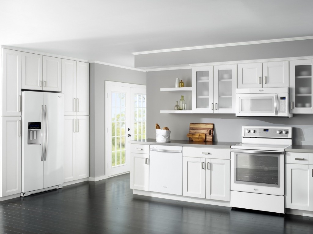 kitchen cabinet ideas with white appliances photo - 1